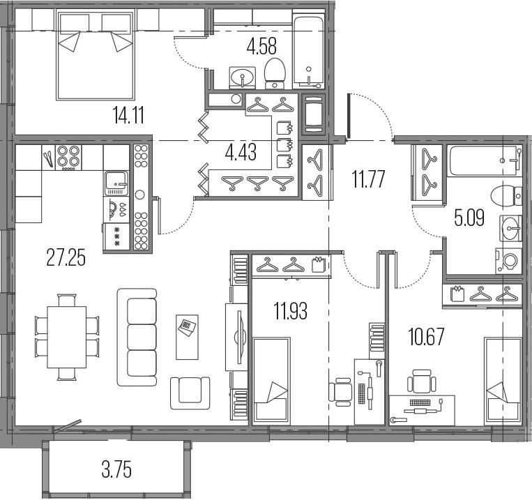 4-к.кв (евро), 93.58 м²