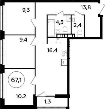 4Е-к.кв, 67.1 м², 6 этаж
