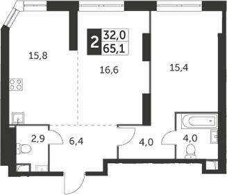 2-к.кв, 65.1 м², 33 этаж