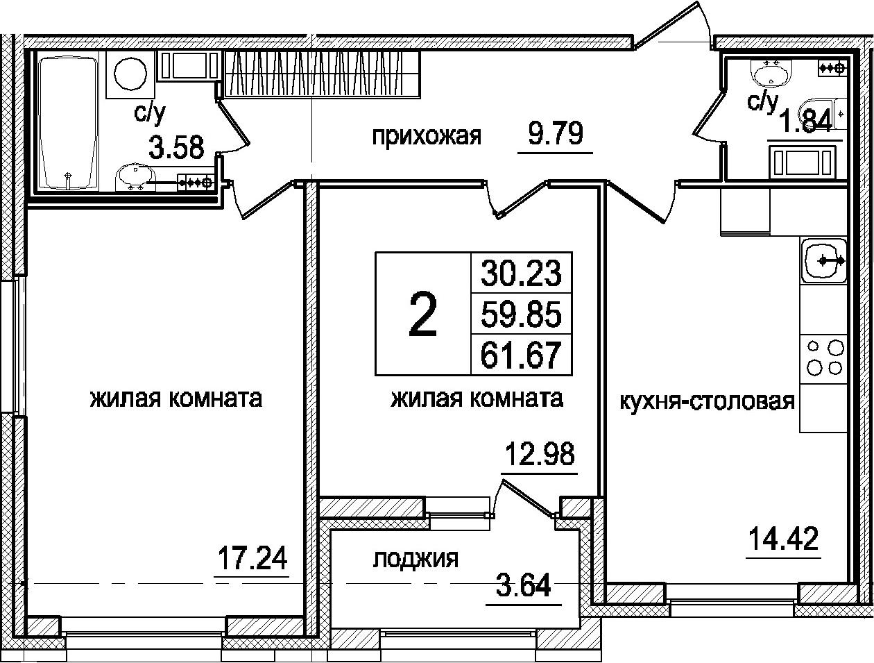 3Е-к.кв, 61.67 м²