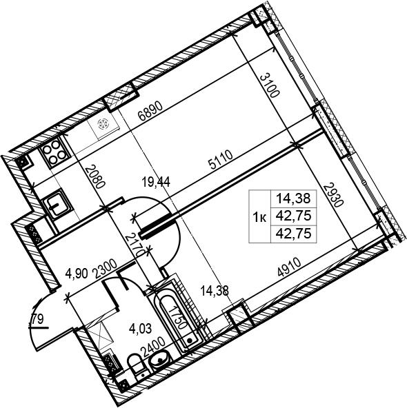 1-к.кв, 42.75 м², 3 этаж