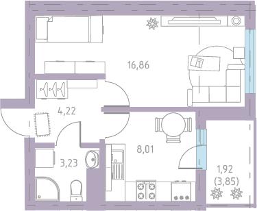 1-к.кв, 36.16 м²