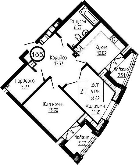 2-к.кв, 66.46 м²