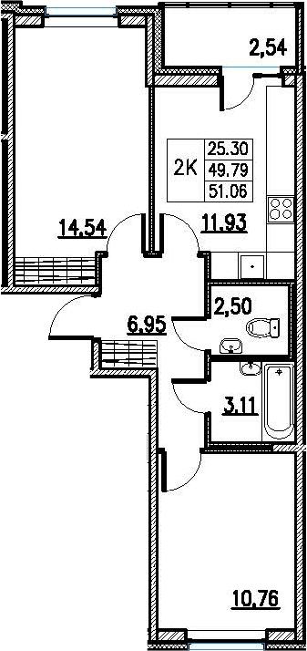 2-к.кв, 52.33 м²