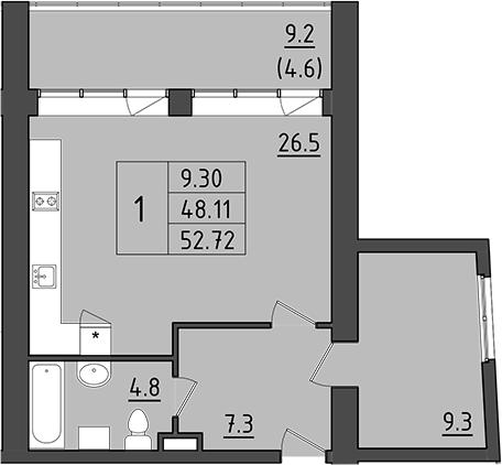 2Е-комнатная, 57.31 м²– 2