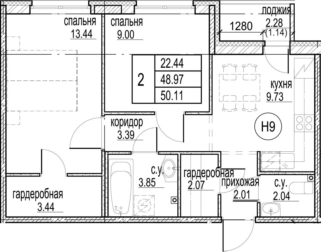 2-к.кв, 51.25 м²