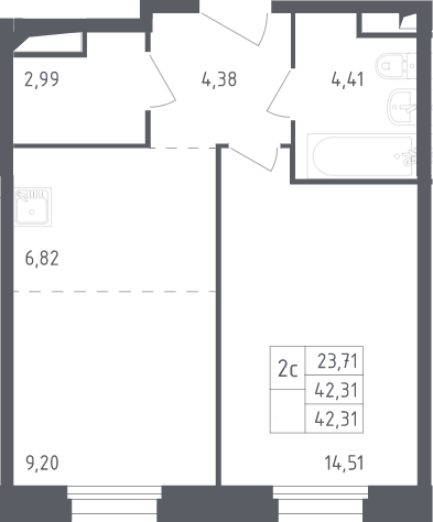 2Е-комнатная, 42.31 м²– 2