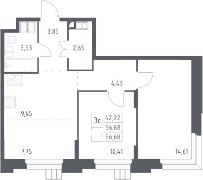 3Е-к.кв, 56.68 м², 13 этаж