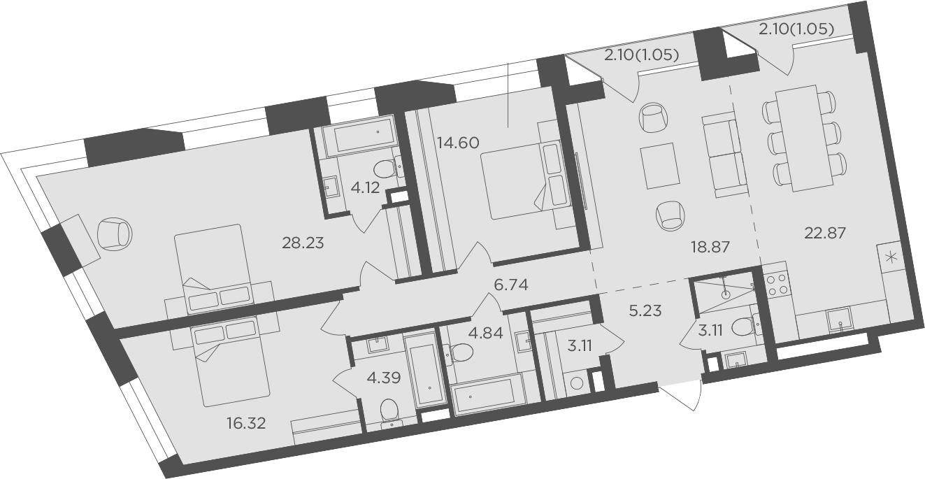 4-к.кв, 134.53 м², 5 этаж