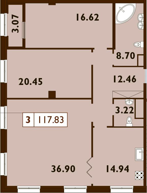 3-комнатная, 117.83 м²– 2
