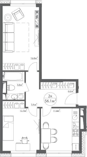 2-к.кв, 56 м²