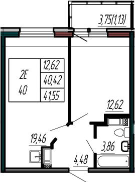 2Е-к.кв, 40.45 м²