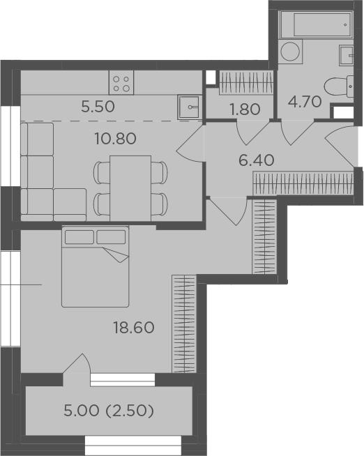 2-к.кв (евро), 52.8 м²