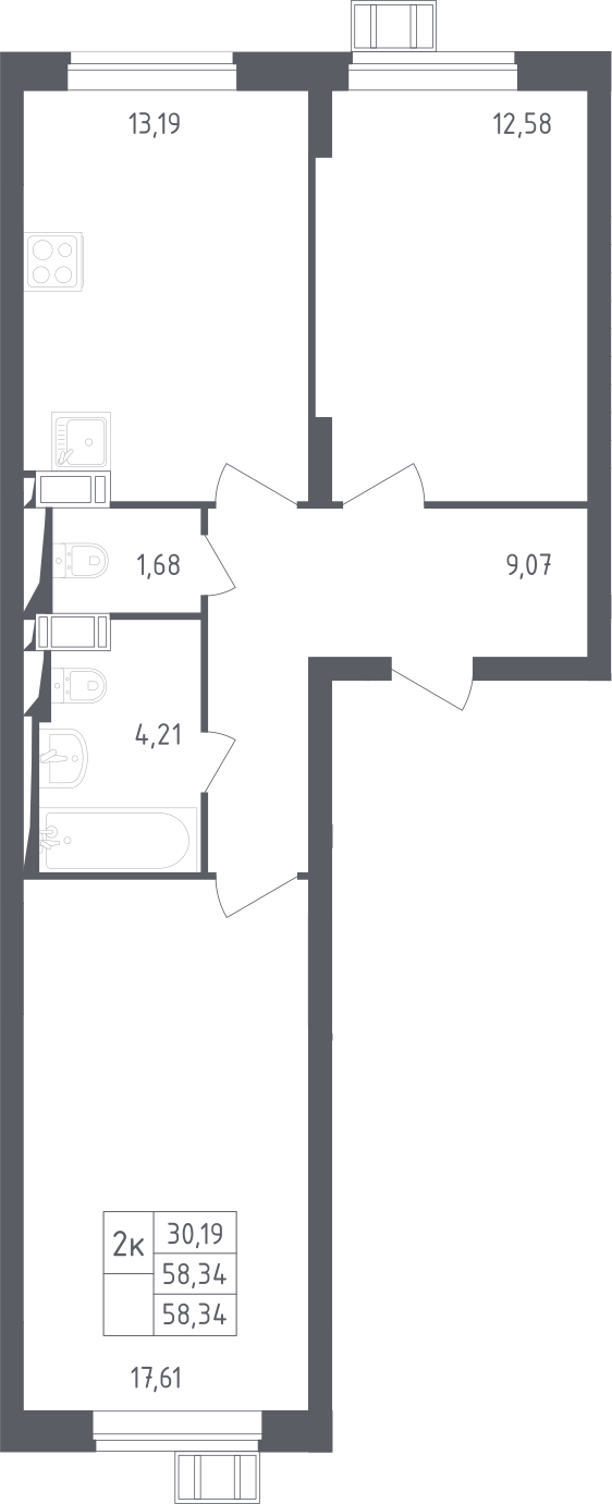 2-к.кв, 58.34 м²