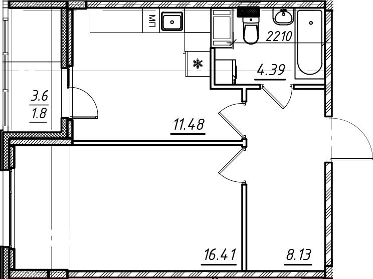 1-комнатная, 42.21 м²– 2