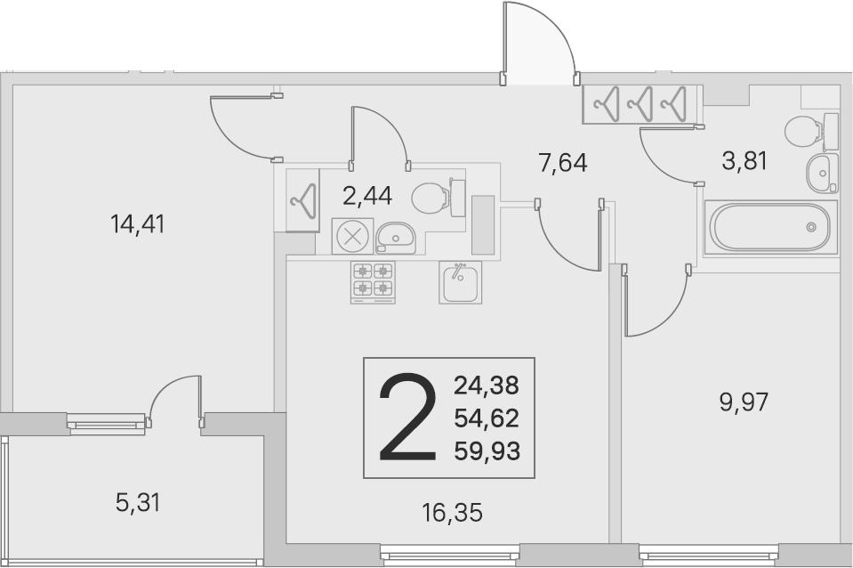 3Е-к.кв, 54.62 м², 4 этаж
