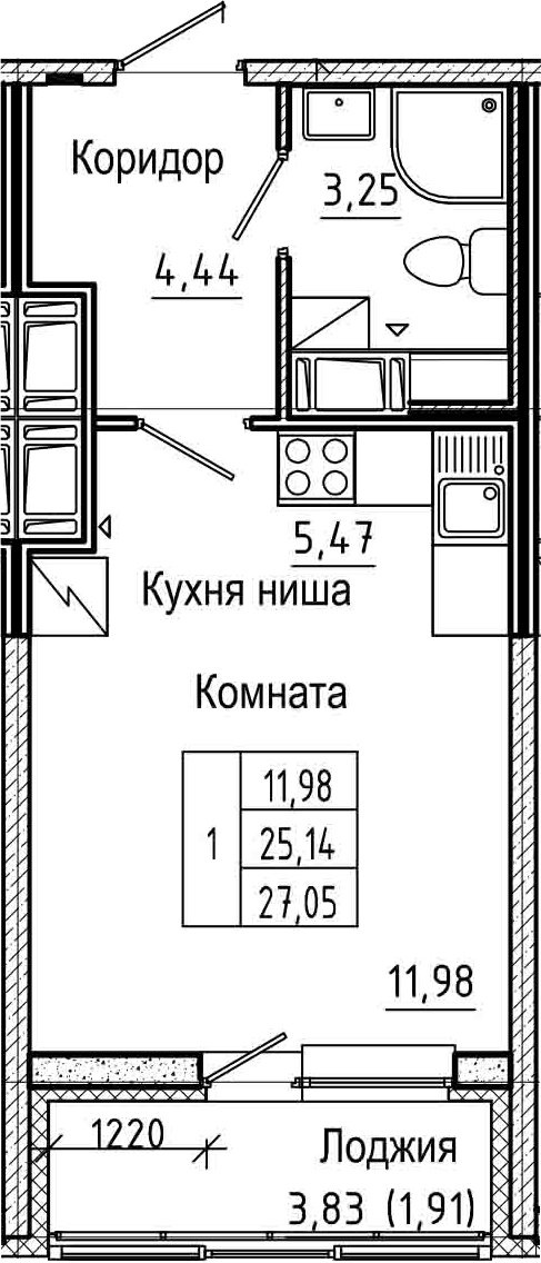 Студия, 27.05 м², 24 этаж