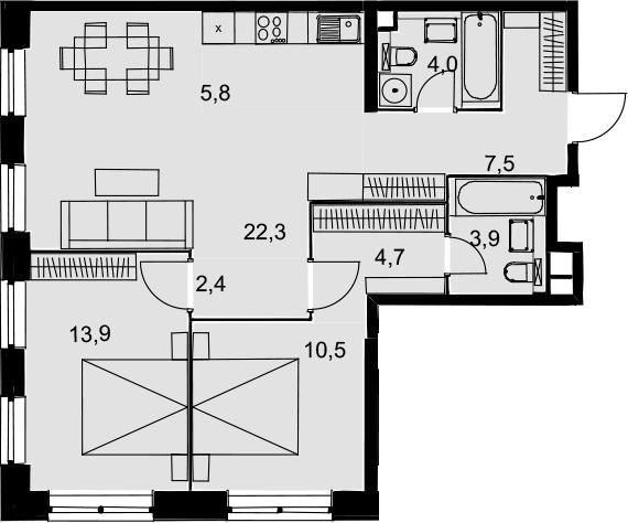 3Е-комнатная, 75 м²– 2