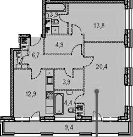 2-к.кв, 95.3 м²