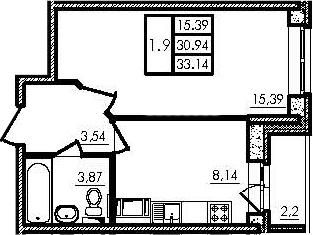 1-к.кв, 30.88 м²