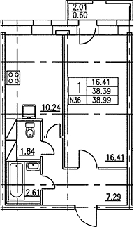 1-к.кв, 40.39 м²