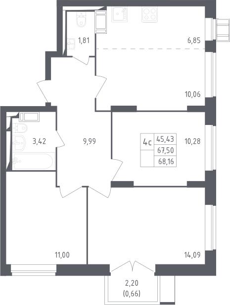 4Е-к.кв, 68.16 м²