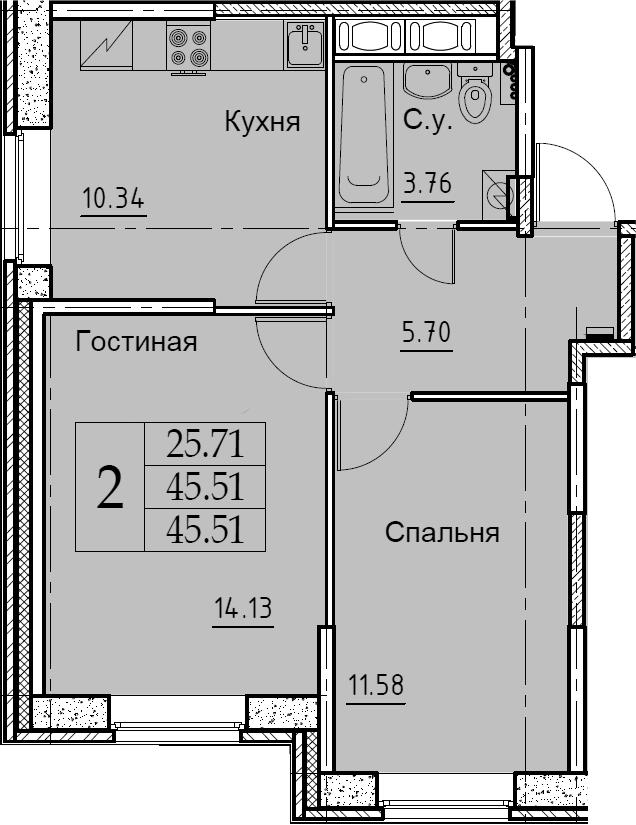 2-комнатная, 45.51 м²– 2