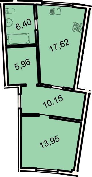 2-к.кв (евро), 54.1 м²