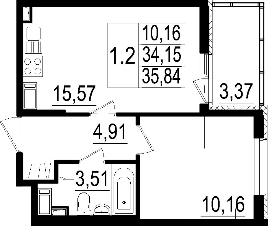 2Е-к.кв, 34.15 м², 2 этаж