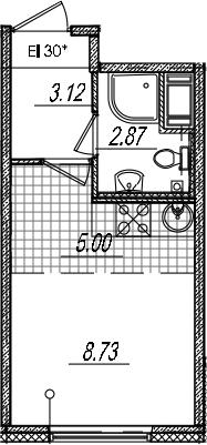 Студия, 19.72 м²