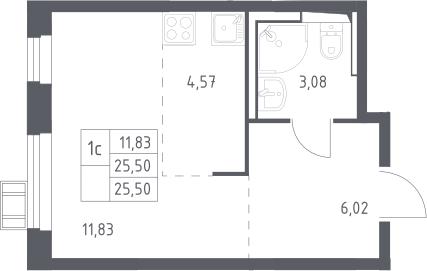 Студия, 25.5 м²– 2