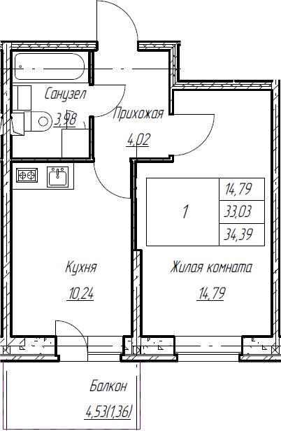 1-к.кв, 34.39 м², 2 этаж