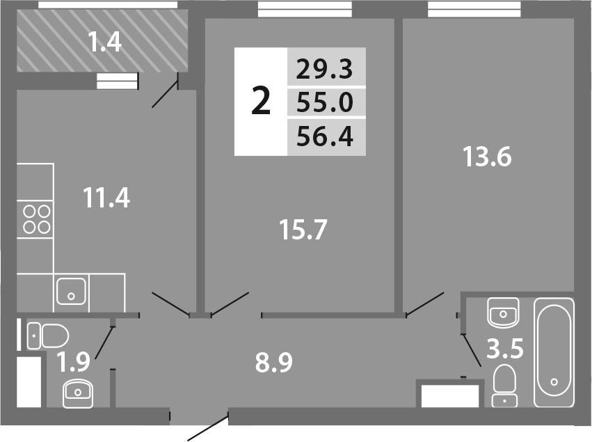 2-к.кв, 56.41 м², 19 этаж