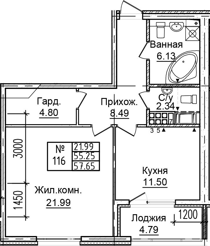 1-к.кв, 60.04 м²