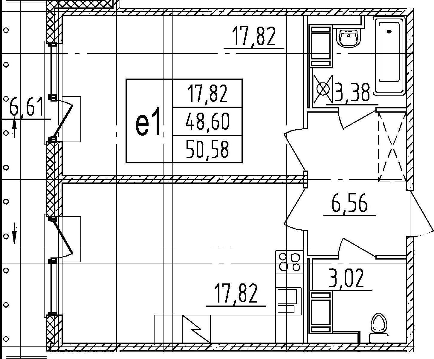 1-к.кв, 55.21 м²