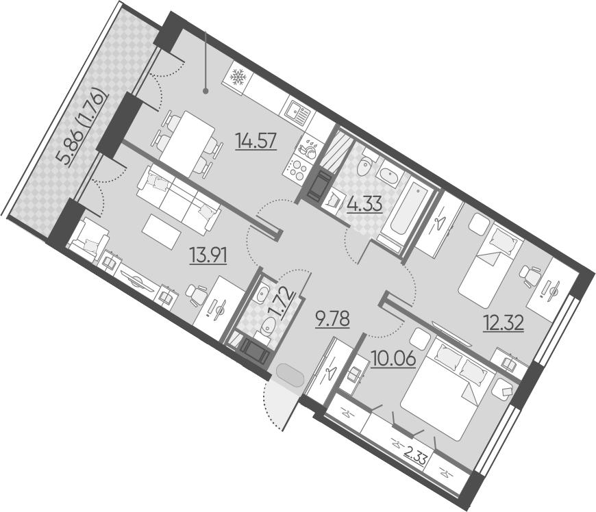 3-к.кв, 70.78 м²