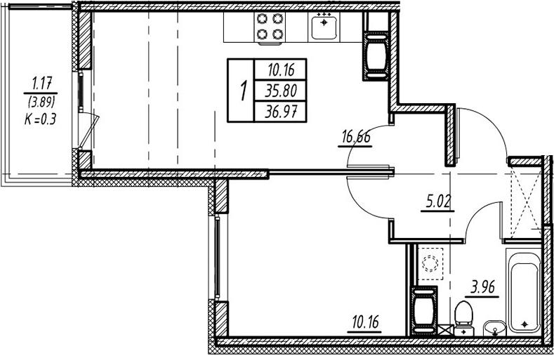 2-к.кв (евро), 39.69 м²