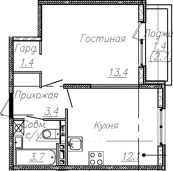 1-к.кв, 34 м², 3 этаж
