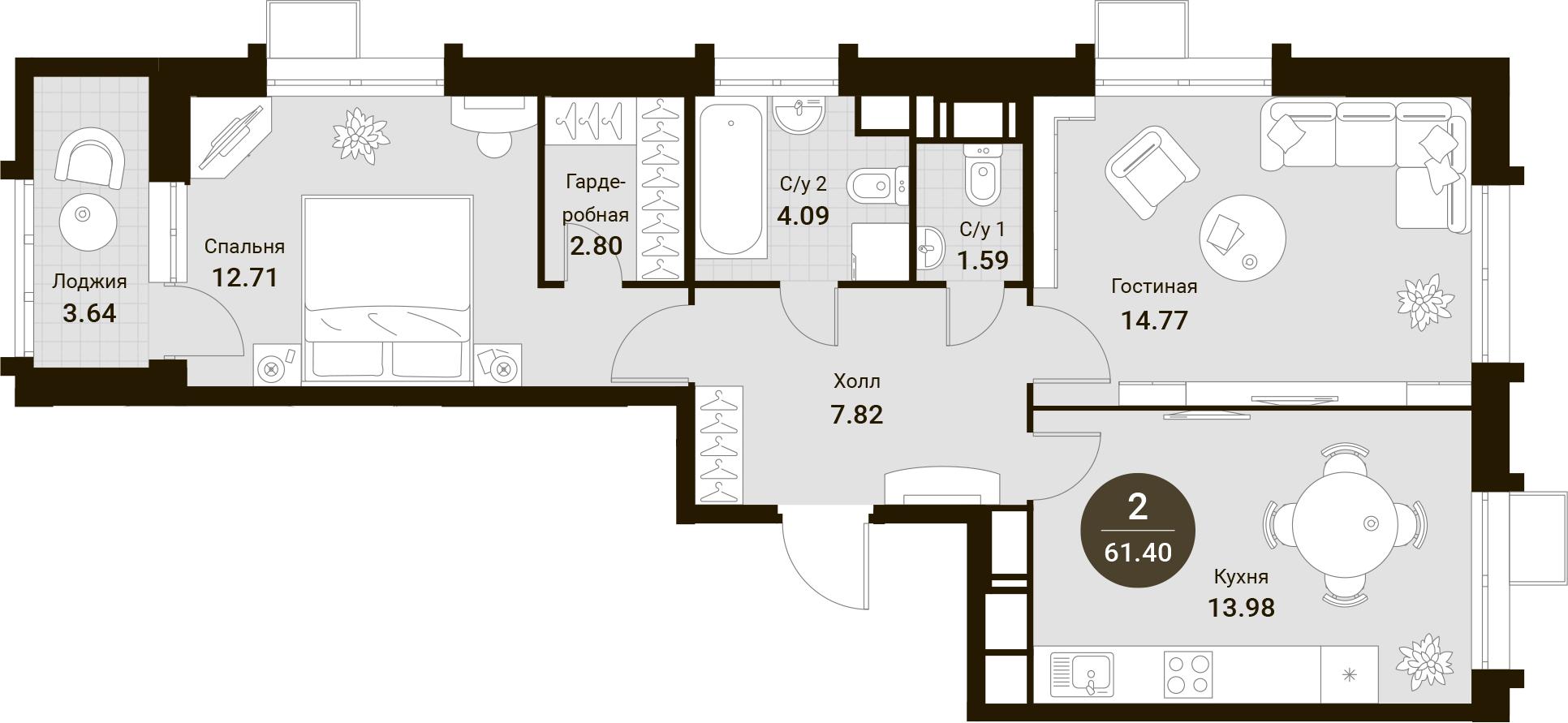 2-к.кв, 61.4 м²