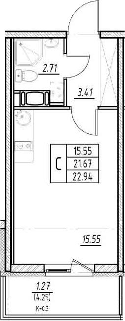 Студия, 21.67 м², 11 этаж
