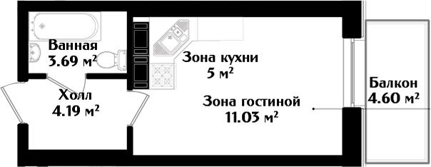 Студия, 25.29 м²