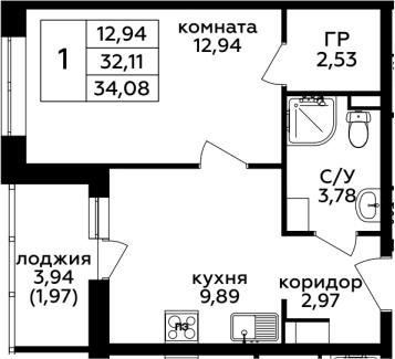 1-комнатная, 34.08 м²– 2