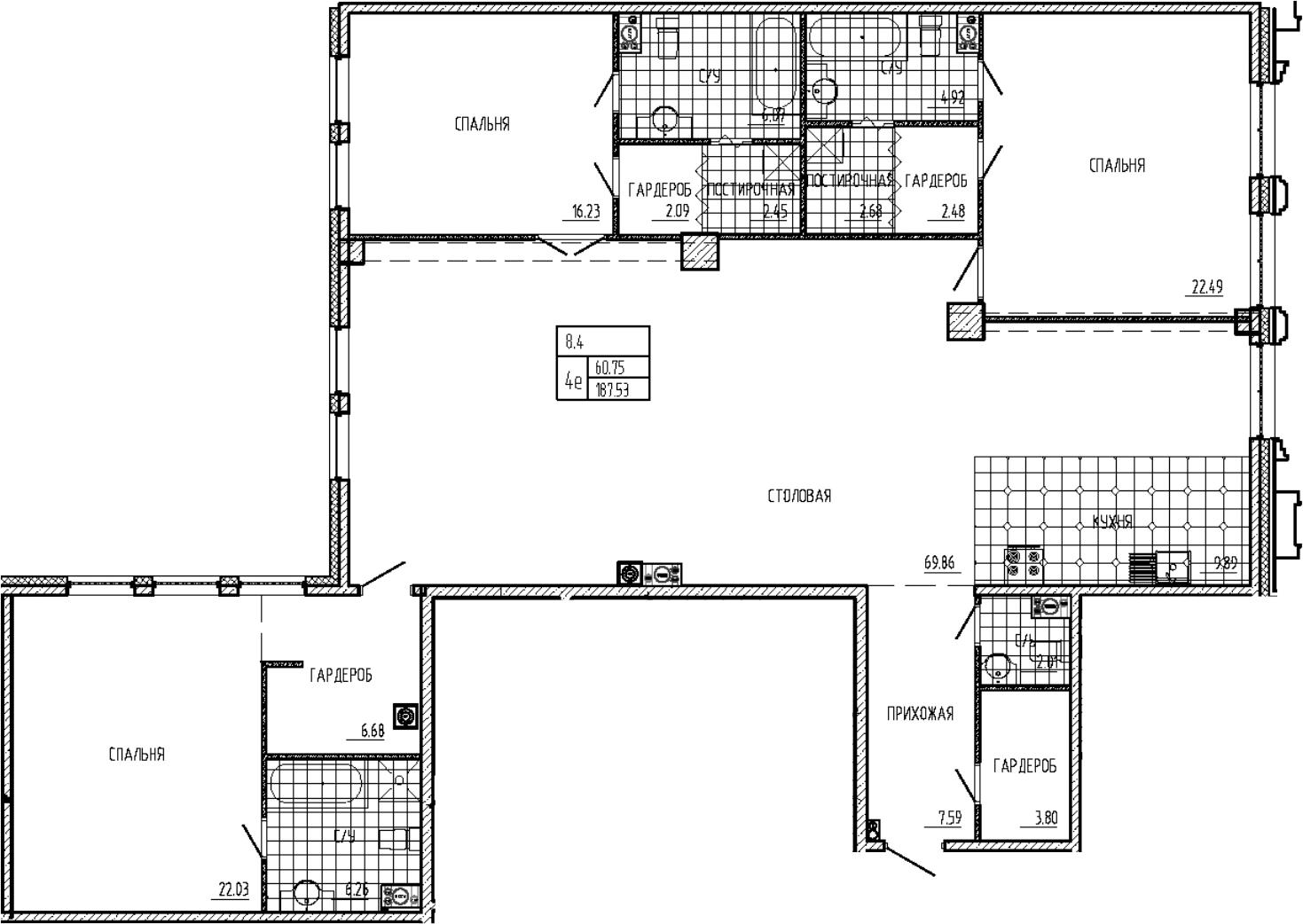 4Е-комнатная, 187.53 м²– 2