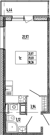 Студия, 33.47 м²