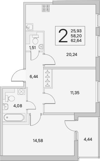 3Е-комнатная, 62.64 м²– 2