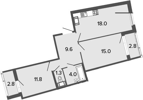 3Е-к.кв, 59.7 м², от 11 этажа