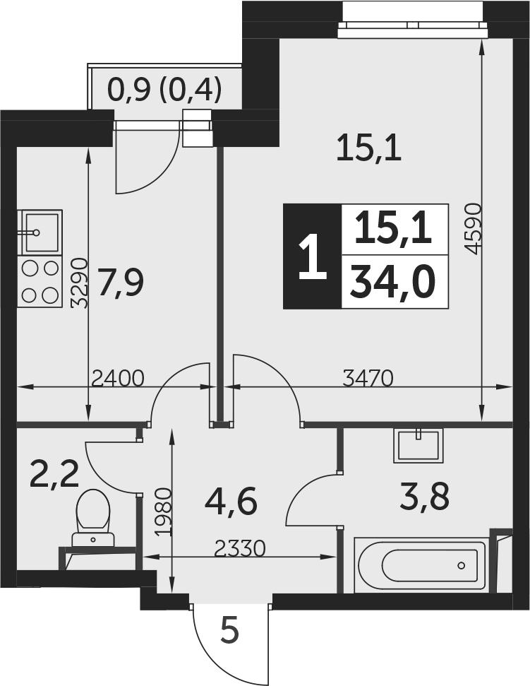 1-к.кв, 34.4 м²