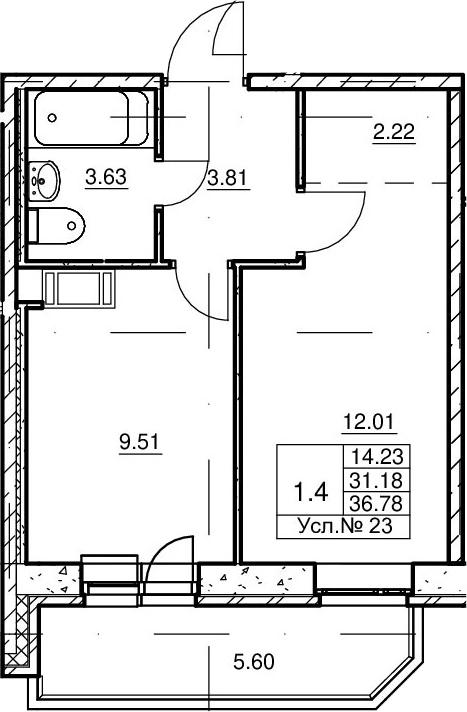 1-к.кв, 31.18 м²