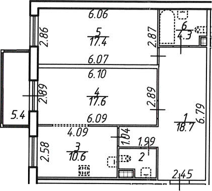 2-комнатная квартира, 72.6 м², 7 этаж – Планировка