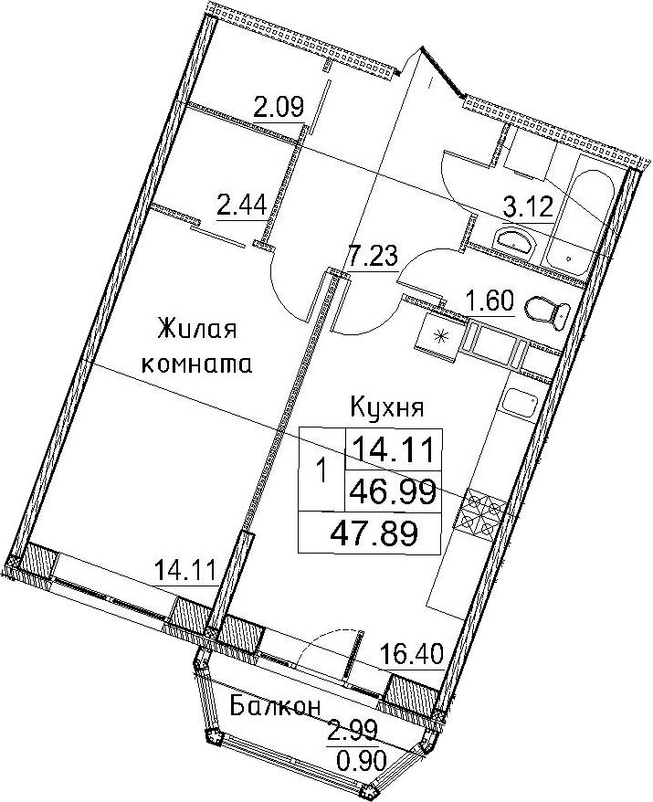 1-к.кв, 47.89 м²